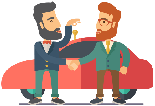 illustration of two men shaking handa and exchanging keys by a car
