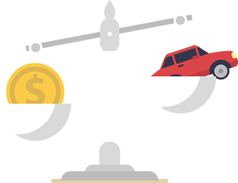 illustration of scales with a coin and a car